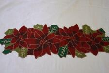 DOMAIN CHRISTMAS POINSETTIA & LEAVES BEADED TABLE RUNNER 12.5x36 - RED/GREEN-NEW