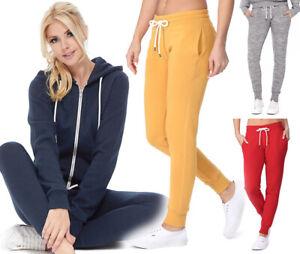 Reflex Women's Premium Fleece  Jogger Sweatpants Basic Solid Gym Lounge Cotton