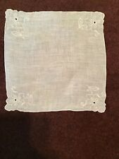 Vintage 100% Linen Hanky Hand Embroidered