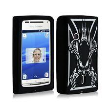 étui coque en silicone pour Sony Ericsson Xperia X8 motif tête de mort noir