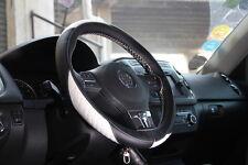 "Steering Wheel Cover Black+White Leather 47011B 14""-15"" for Audi Hyundai Genesis"