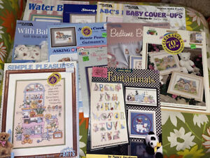 Lot of 12 Cross Stitch Patterns Booklets, Baby Nursery Samplers Bibs K