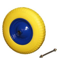 Schubkarrenrad Gummirad gelb PU Rad 400  mit Achse Vollgummi 4.80/4.00-8