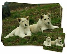 White Lion Cubs Twin 2x Placemats+2x Coasters Set in Gift Box, AT-51PC