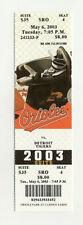 Baltimore Orioles Vs Detroit Tigers May 6 2003 Unused Suite Ticket