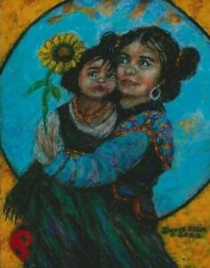 Sandy Austin Stein Madonna of The Sunflower 8x10 Painting Native American Child