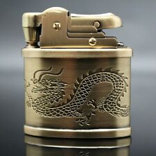 100% Yellow Copper Chinese Dragon Lighter Vintage Oil Lighter Brass Oil Lighter