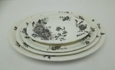 ANTIQUE VICTORIAN KEELING & CO LATE MAYER 4 X SET SERVING PLATES TRAYS DAISY