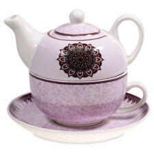 Tee for one Set Mandala LILA mit Kanne, Tasse und Teller Bone China Porzellan