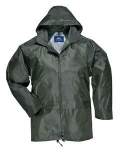 PORTWEST WATERPROOF RAIN JACKET OVER COAT MAC OLIVE GREEN S M L XL XXL 3XL 4XL