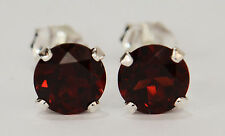 BEENJEWELED GENUINE NATURAL MINED GARNET EARRINGS~STERLING SILVER~6MM
