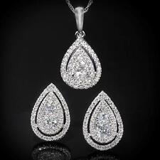 New 14K 1.13ctw Diamond  Layered Tear Drop Pendant & Earring Set WG