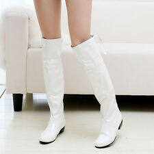 Womens Fashion Patent leather Low Heels Knee High Boots Shoes UK Size 1.5-12 A36