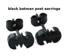 Punk Stainless Steel Black Bat Batman Ear Studs Earrings Unisex Handsome Jewelry