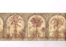 VYMURA Architectural Arch Palm Trees Textured Embossed Gold Wall paper Border