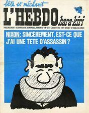 """L'HEBDO HARA-KIRI N°67 du 11/5/1970"" REISER: NIXON / AI-JE UNE TÊTE D'ASSASSIN?"