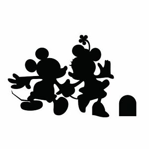 Kids Bedroom Disney Decor Mickey & Minnie Mouse Silhouette Vinyl Home Wall Decal