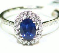 1.1CT 14K Gold Natural Sapphire Round Cut White Diamond Engagement Ring Vintage