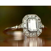 Antique Art Deco 1.25 Ct Emerald Diamond Halo Wedding Ring 14k White Gold Over