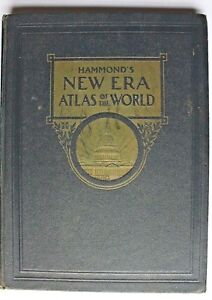 HAMMOND'S NEW ERA ATLAS OF THE WORLD 1945 EDITION HARDBACK - US PUBLICATION