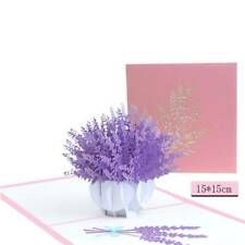 3D Pop Up Lavender Laser Cut Postcard Christmas Birthday Thanksgiving