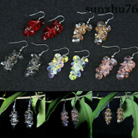 Women Beaded Faceted Dangle Hooks Round Pendant Crystal Glass Earrings Ear