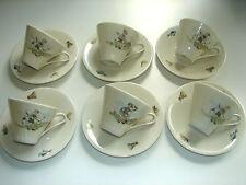 6 tazze Moka con sotto tazze, anni 50 anni, fine partita bambini, Zeh Scherzer