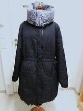 Marimekko, Finland: Quilted Long Winter Coat. Topped. Black / White. Big Collar