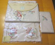 Lenox Holiday Red Cardinal Linens Tablecloth Place Mats & Napkins NIP