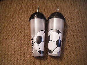 NEW Lot of 2 SOCCER GOAL! 24 oz. BPA Free Plastic Tumblers w Straws - GAME DAY