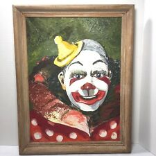 Vintage Painting on Board of Clown Framed & Signed 14 x 18