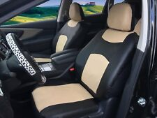 2 Front Black Tan Leatherette Auto Car Seat Cushion Covers for Dodge #C15905