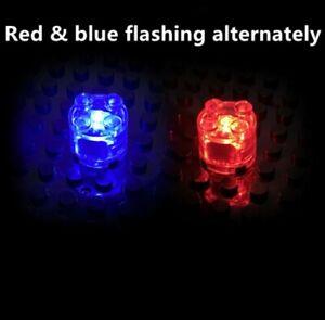 BRICKBUMS CUSTOM 2X2 ROUND RED/BLUE FLASH LED LIGHT BRICK FOR LEGO