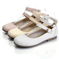 Womens Ankle Strap Flat Lolita Casual Oxford Mary Jane Pump Ballet Shoes Size 10