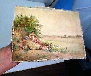 Antique 1800's William Shayer Watercolor Painting English Landscape W/ Children