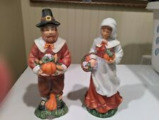 Pair Of Thanksgiving Figurines Pilgrims Holiday Decor Ceramic Man Woman Fall