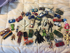 DIE CAST METAL CARS VEHICLES LOT SET BATMAN ARMY AIRPLANE IRON MAN TANK BUS RACE