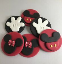 6 Edible Sugarpaste MICKEY MOUSE Cupcake / Cake Toppers BIRTHDAY ANIMAL FARM