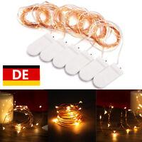 6er Set 2M 20 LEDs Kupferdraht Lichterketten Batterie Weihnachtsleuchte Warmweiß