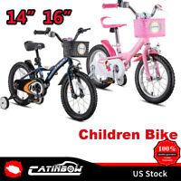 "14"" 16"" Kids Bike Bicycle Adjustable Seat With Pedal Training Wheel Boy Girl"