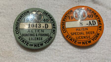 2 Vintage 1940's Hunting Button Licenses State Of New York