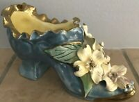 Vintage Porcelain Show Encrusted Floral Gold Ruffle Victorian Style Blue B10