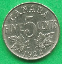 Canada 1922 5 Cents Nickel King George V  Canadian Coin