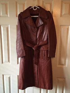 Vintage Spiegel leather trench coat; Fully satin lined; Zip-in cozy Fleece liner