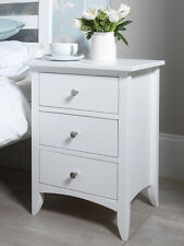 Edward Hopper white bedside table with 3 drawers, ASSEMBLED bedside cabinet with