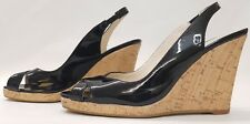 NEXT ladies womens black patent slingback sandals size 4 EU 37