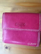 💕 Coach Wallet Pink Magenta Leather Trifold $208rt