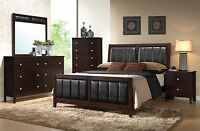 NEW Modern Brown Bedroom Furniture - 5pcs Set w/ King Size Faux Leather Bed IA70