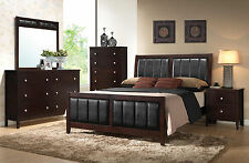 REINA 5 piece Modern Dark Brown NEW Bedroom Set Furniture - King Size Panel Bed