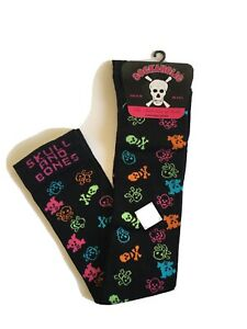 Ladies Over Knee High Halloween Socks, Skull And Bones Novelty Rich Cotton